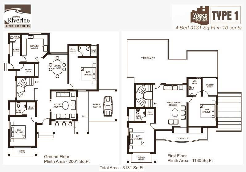 Wexco Homes Villas U0026 Apartments In Kottayam Riverinevilla Types Floor Plans